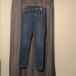 Lands end jeans pull on mid rise skinny 12 tall